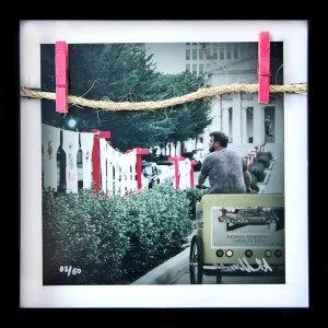 "10x10"" print collage with line and pins from the #NashvilleSelfie installation framed as 12x12"""
